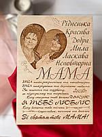 Постер на дереве для мамы с вашим фото! А4 30х20см