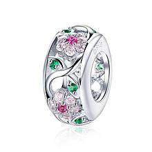 """Шарм """"Нежные цветы"""" серебро 925 проба, кубический цирконий"""