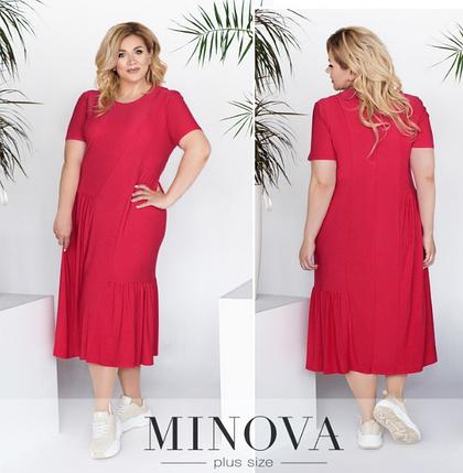 Летнее платье-миди цвет малина Размеры: 52-54,  60-62, 64-66, фото 2