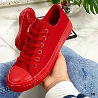 Кеды женские красные стильные текстиль, фото 1