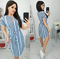 Платье с полосками женское полубатальное (ПОШТУЧНО) L/46-48