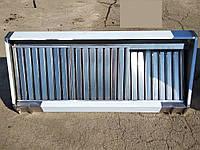 Зонт вытяжной пристенный прямоугольный из нержавеющей стали с жироулавливающим фильтром 1100х900 мм.