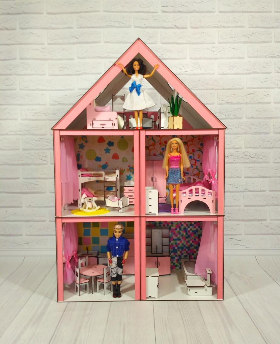 Кукольный домик Большой Особняк Барби с мебелью