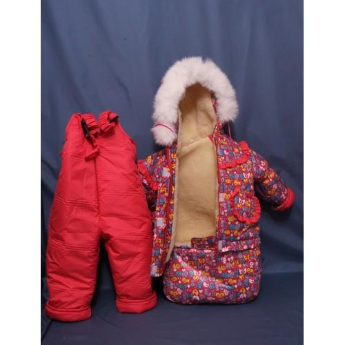 Детский костюм-тройка (конверт+курточка+полукомбинезон) для девочки малина принт