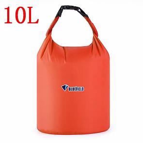 Гермомешок BLUEFIELD 10 литра, водонепроницаемый мешок 34х39 см. Оранжевый.