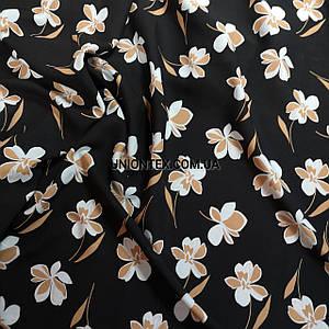 Ткань штапель принт цветы на черном KL-04