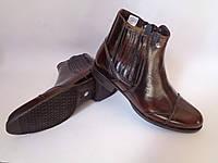 """Польские зимние мужские ботинки фабрики """"Conhpol"""" на овчине коричневого цвета"""