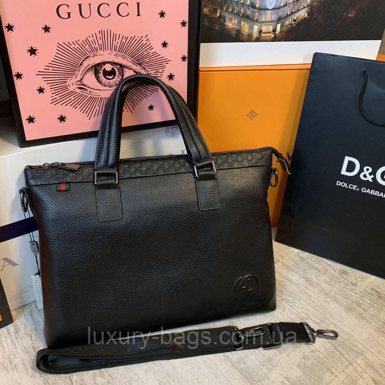 Мужской кожаный портфель Гуччи Gucci