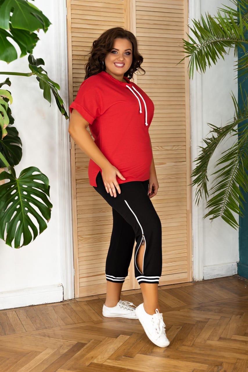 Костюм спортивный женский свободного кроя красный с чёрным