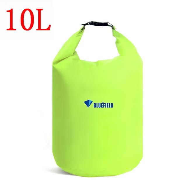Гермомешок BLUEFIELD 10 литра, водонепроницаемый мешок 34х39 см. Салатовый.