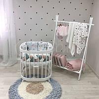 Комплект белья в овальную кроватку Art Design Зайцы Радуги (6 предметов)