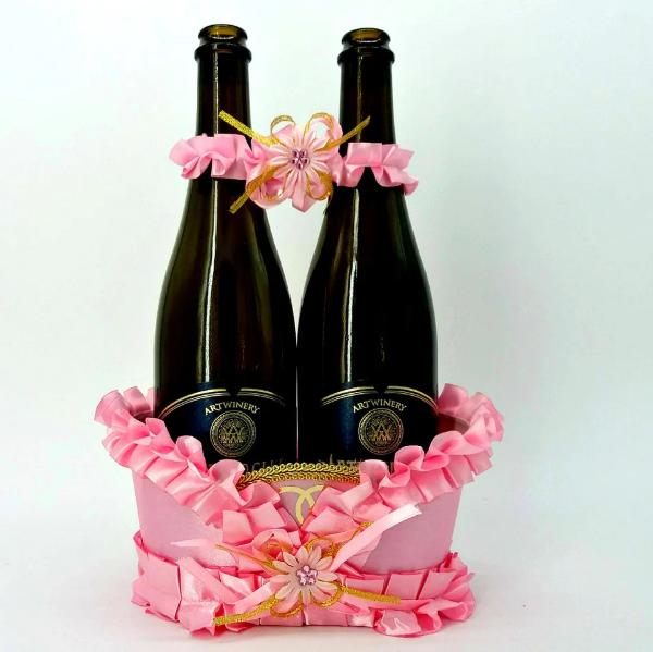 Корзинка под свадебное шампанское, Розовая