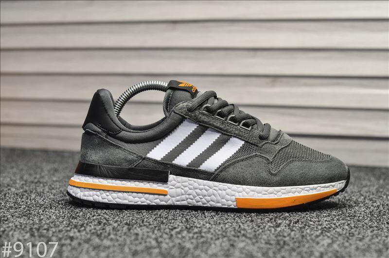 Кроссовки мужские Adidas ZX 500 Gray Orange. Стильные кроссовки серого цвета.
