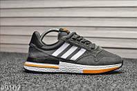 Кроссовки мужские Adidas ZX 500 Gray Orange. Стильные кроссовки серого цвета. , фото 1
