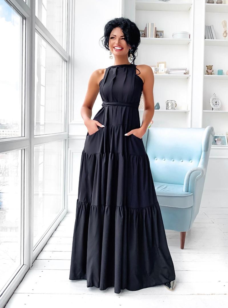 Жіноче ярусну літнє плаття максі розмір 42-46