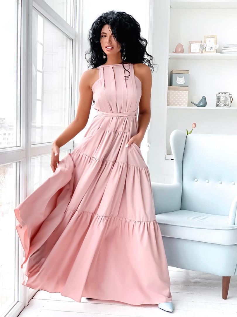 Жіноче ярусну літнє плаття максі розмір 42-46 пудра