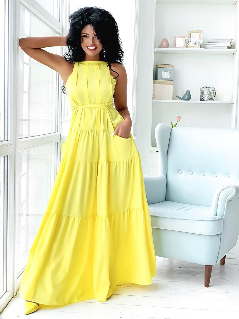 Женское ярусное летнее платье макси размер 42-46 желтый