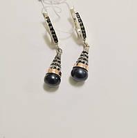 Серебряные серьги с золотом и черным жемчугом Мая, фото 1