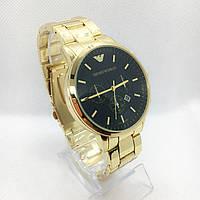 Часы мужские наручные Emporio Armani (Эмпорио Армани), золото с черным циферблатом ( код: IBW362YB )
