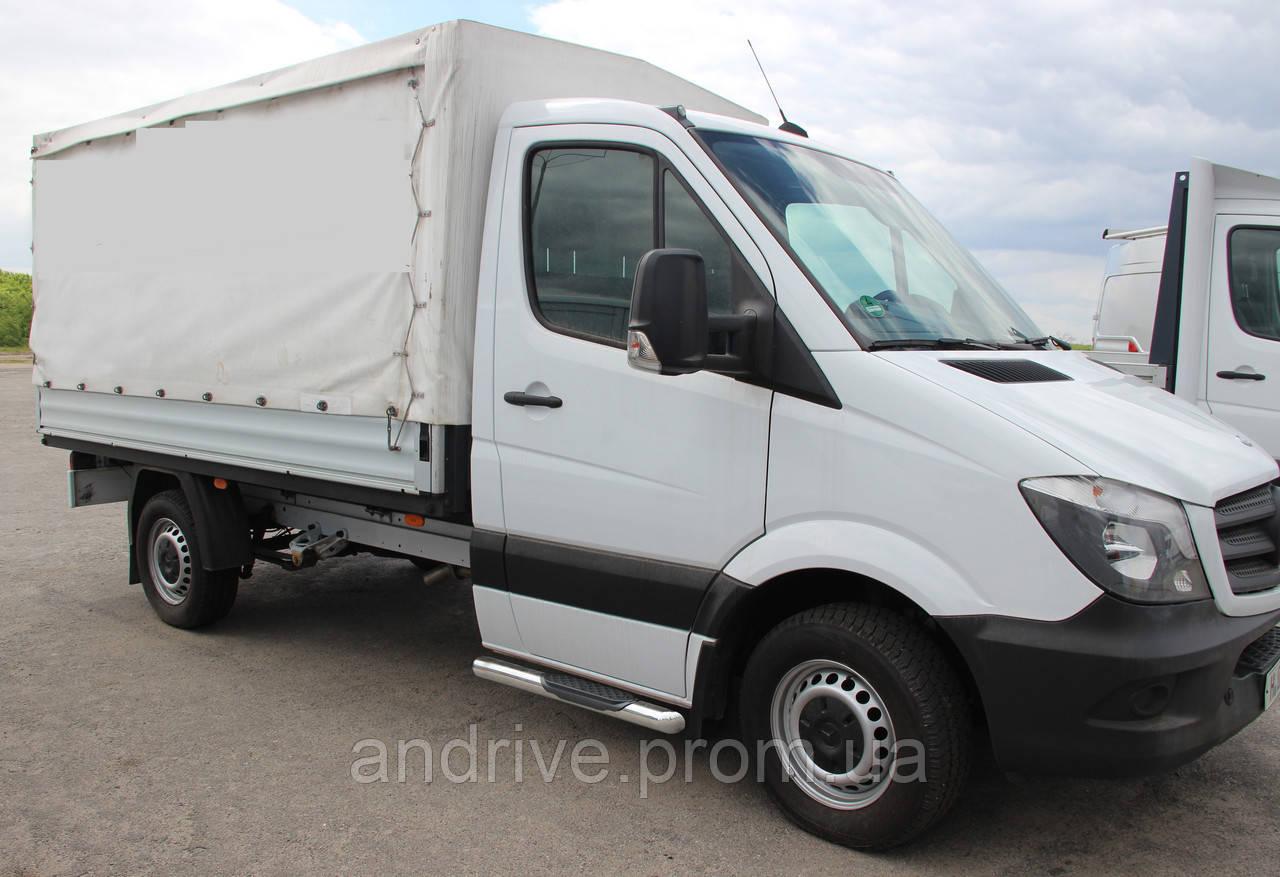 Пороги боковые (подножки-трубы с накладками) Mercedes Sprınter 2014-2018 (Ø60) грузовой