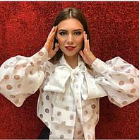 Шикарная шифоновая блуза с длинным рукавом и бантом на шее, 3 цвета, р-р.42-46  Код 280Т, фото 1