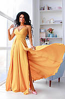 Шелковое вечернее платье в пол с разрезами и открытой спиной размеры 42-44, 44-46 горчичное
