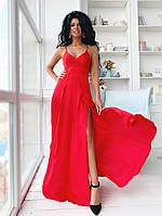 Шелковое вечернее платье в пол с разрезами и открытой спиной размеры 42-44, 44-46 красное
