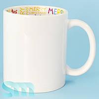 """Чашка сублимационная с внутренним принтом """"MERRY CHRISTMAS"""""""