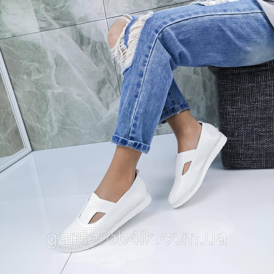 Женские туфли мокасины пресскожа с перфорацией