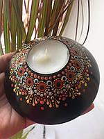 Надзвичайно стильний свічник, з натурального дерева, покрита лаком, для чайної свічки