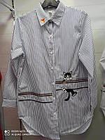 Рубашка белая хлопковая с длинным рукавом и вышивкой, р-р.42-46  Код 278Т