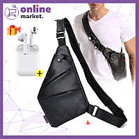 Мужская сумка мессенджер Cross Body эко кожа + Наушники i12 в ПОДАРОК