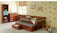 Детская выдвижная кровать для двух детей LukDom Junior 160х80Темный орех