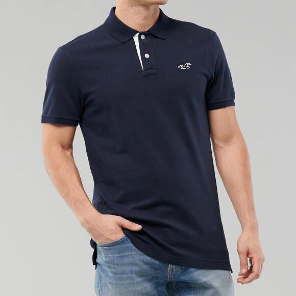 Фирменное хлопковое поло синее Hollister Stretch Polo