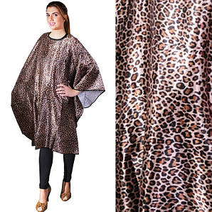 Накидка для стрижки коричневый леопард Eurostil 03523 размер 147х128см