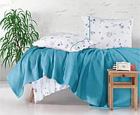 Комплект постельного белья с вафельным покрывалом Ранфорс  220*240 Pike (ТМ Aran Clasy) Metali v4, Турция