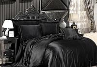 Полуторный комплект постельного белья из атласа Черный
