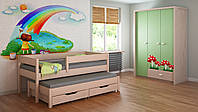 Выдвижная детская кровать с бортиком  LukDom Junior 180х90 Беленый дуб