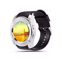 Сенсорные часы Smart Watch V8 умные смарт часы Серые круглый корпус фитнес браслет диктофон + USB кабель (iM)