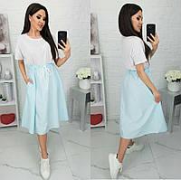 Платье свободного кроя с полосатой юбкой женское ПОЛУБАТАЛ (ПОШТУЧНО)