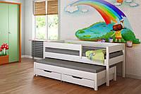 Белая выдвижная детская кровать с бортиком LukDom Junior 180х90
