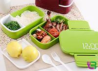 Ланч-бокс прямоугольный Supretto 2-в 1 со съемной перегородкой 900 мл.(зеленый), контейнер для еды, термосудок