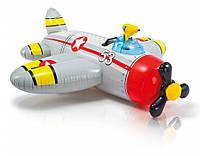Детский надувной плотик-самолет Intex  с водяным пистолетом 57537 132-130 см Серый