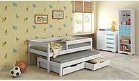 Белая выдвижная детская подростковая кровать  LukDom Junior 200х90