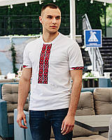Футболка-вышиванка мужская (лакоста) L  Фаворит белая с красн выш 2004-ф-011-L