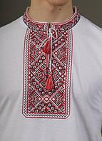 Футболка-вышиванка мужская (лакоста) М Традиция белая 2004-ф-001-М