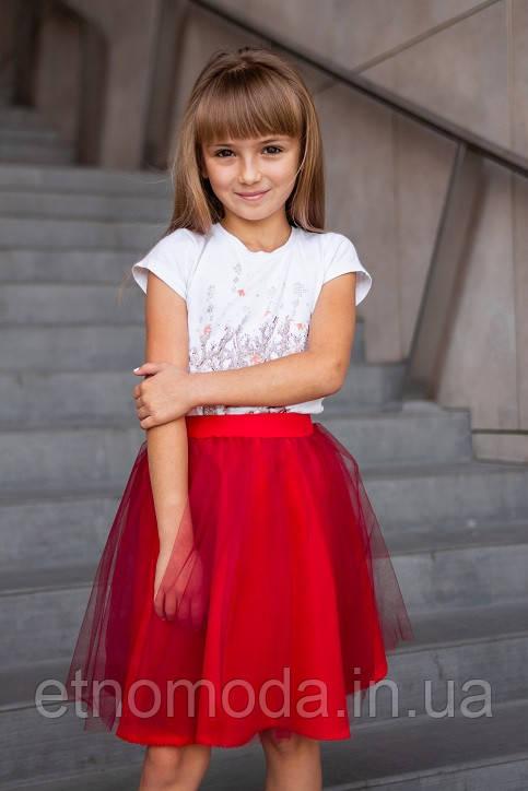 Юбка для девочки (габардин/фатин) Вероничка красная - 116