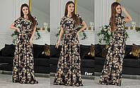 Женское платье длинное в пол сарафан креп-коттон размер: 42, 44, 46, 48