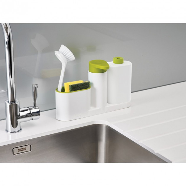 Органайзер для раковины с дозатором для мыла и бутылочкой Joseph SinkBase Plus зеленый