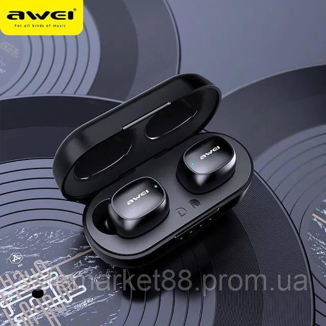 Беспроводные Bluetooth наушники Awei T13 с зарядным блоком черные